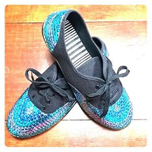 Shoes - Custom black Mermaid sneakers 隆‍♀️